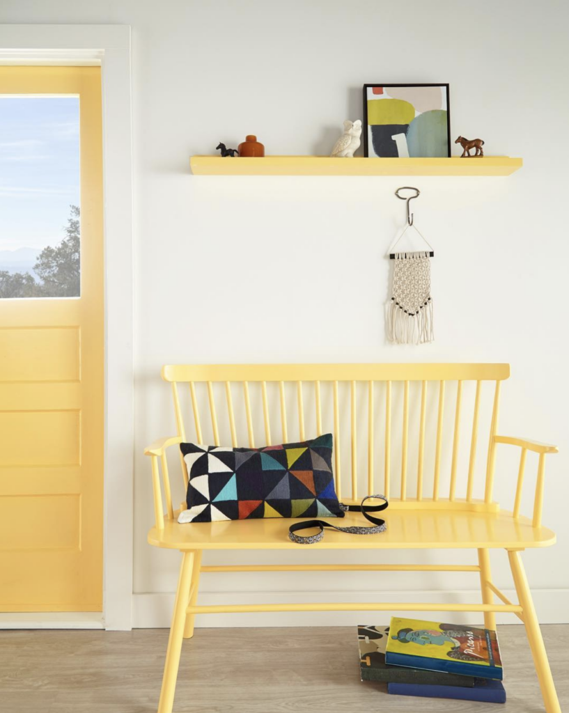COLOR: 'Spirited Yellow P290-4' from Behr Paint, yellow painted bench seat, IMAGE: via @behrpaint