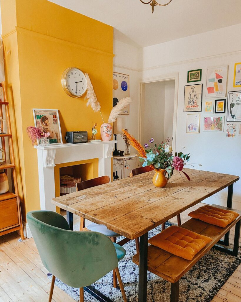 COLOR: 'Yellow Pink' from Little Greene, yellow dining room, IMAGE: via @charminglifebyjess