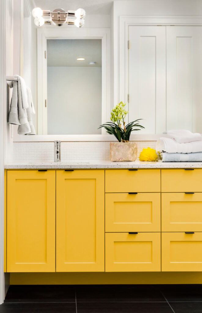 COLOR: 'English Daisy P290-6', from Behr Paint, yellow bathroom cabinet, IMAGE: via Behr