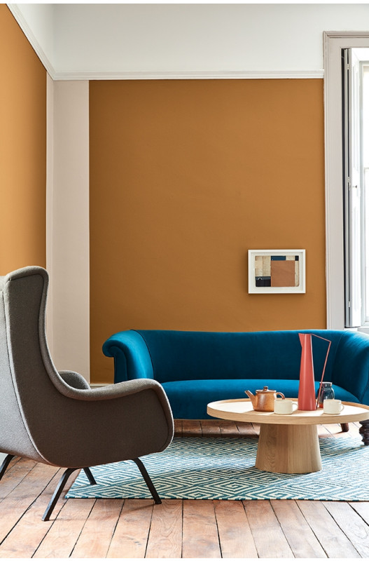 Yellow living room, COLOR: 'Middle Buff (122)' from Little Greene, IMAGE: via Little Greene