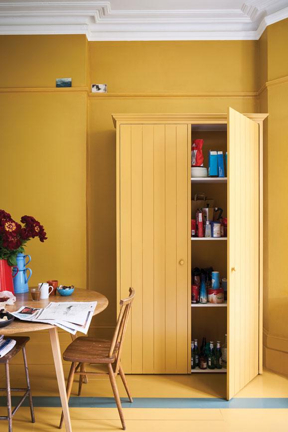 COLOR: 'India Yellow No. 66′ from Farrow & Ball, painted yellow wardrobe, IMAGE: via Farrow & Ball