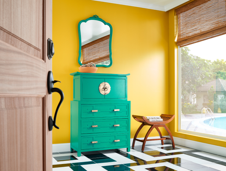 COLOR: 'English Daisy P290-6', from Behr Paint, painted teal cabinet,IMAGE: via Behr