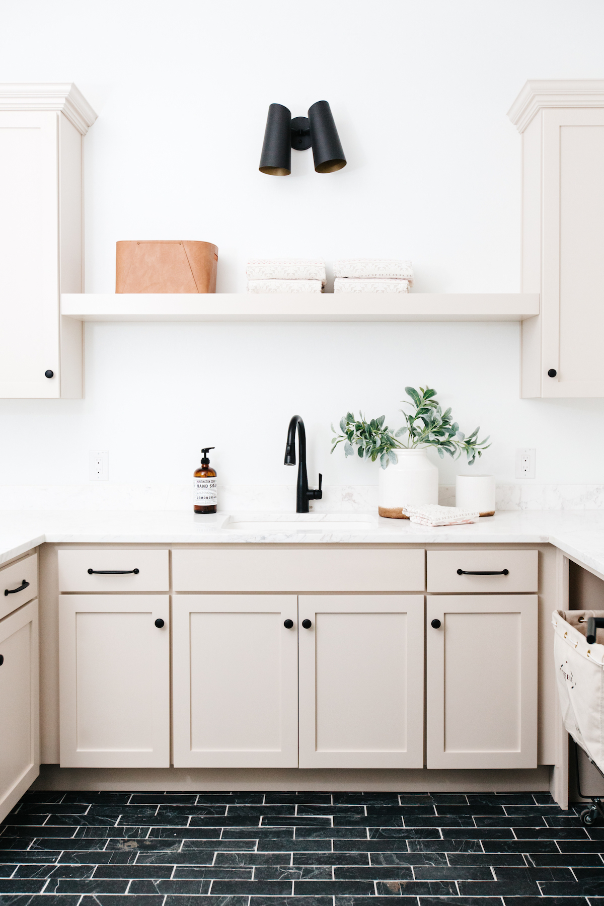 Cabinets in 'Edgecomb Gray' from Benjamin Moore, IMAGE CREDIT: Photo by Rennai Hoefer via The Haven List, Designer: Gather Projects , Staging: Lexi Grace Design