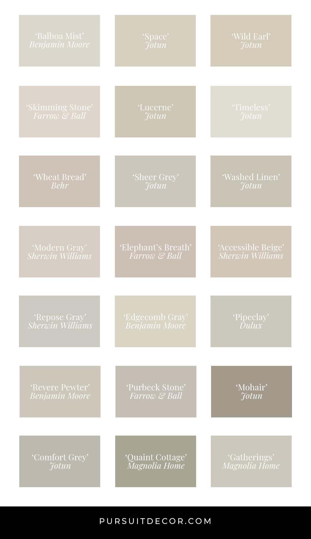 Modern Neutrals: 20+ Beautiful Light Greige Paint Colors - Pursuit Decor