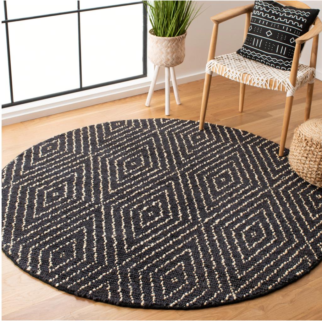 'Wilmore' Handwoven Black Area Rug – Wayfair, round black jute rugs