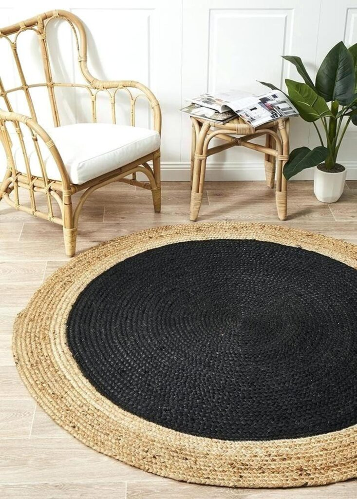 Dyed Jute Designer Round Rug – Etsy (JewelfabCreations), round black jute rugs
