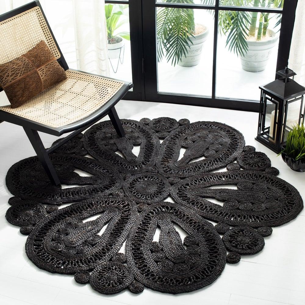 'Ljiljanka' Floral Jute Rug – Overstock, round black jute rugs