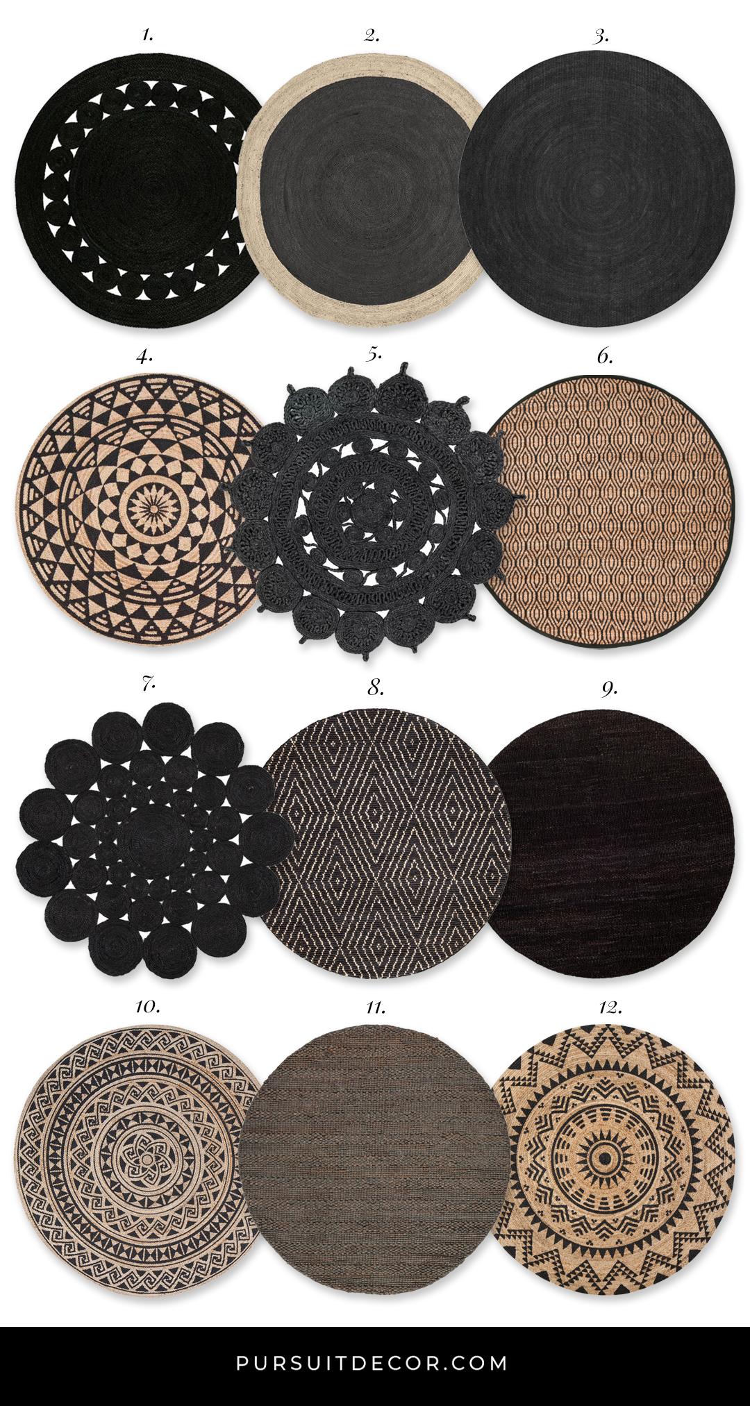 12+ Stylish Round Black Jute Rugs You'll Love - Pursuit Decor - Modern Bohemian area rugs, neutral textured Boho rugs, jute rug, sisal rug, round Boho rugs, natural fibre floor coverings #bohochic #bohemiandecor #bohorug