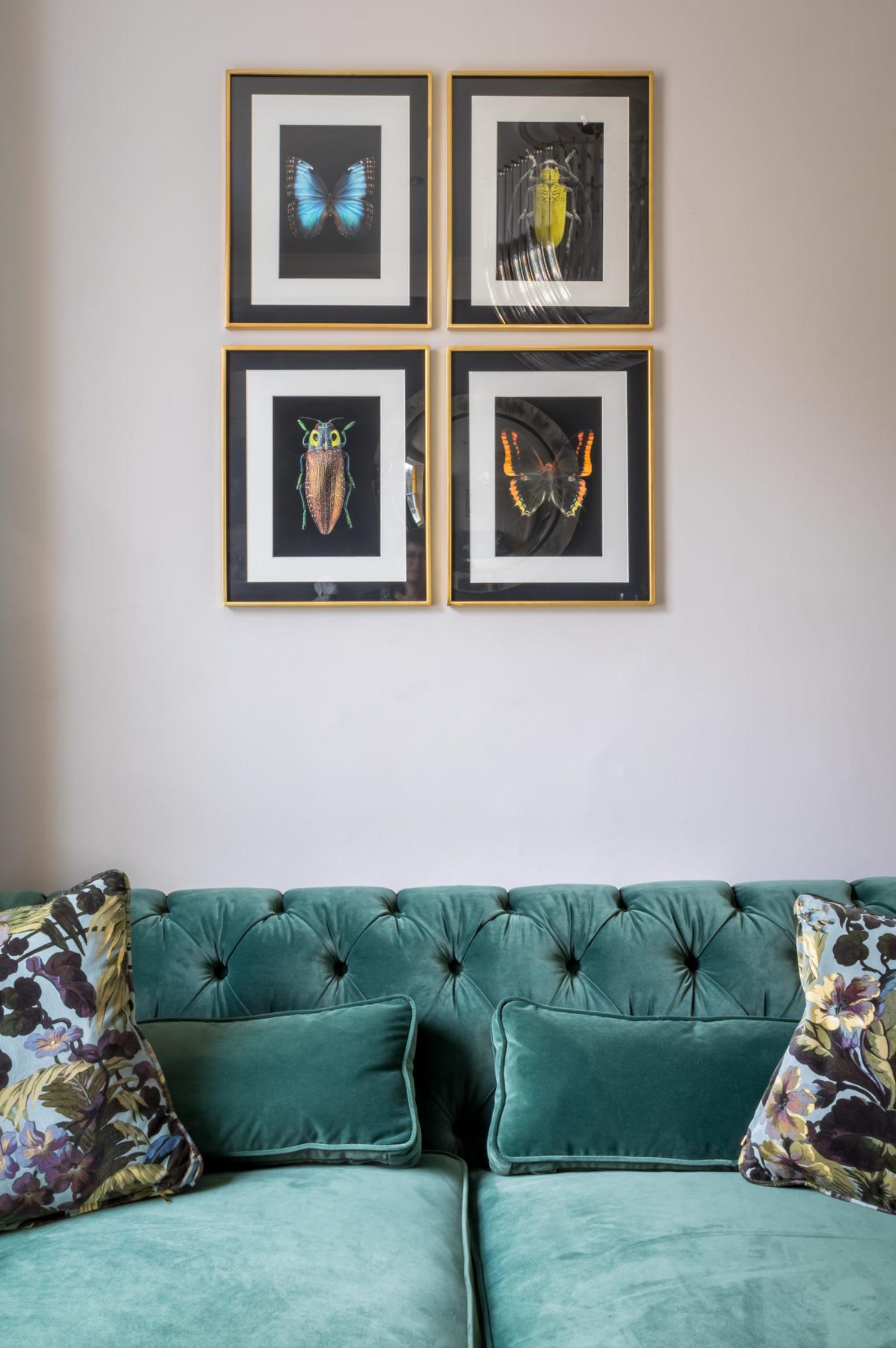 IMAGE via Honey Bee Interiors, green velvet sofa