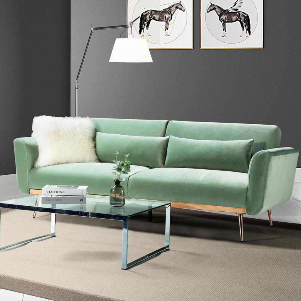 IMAGE via Home Depot, feat. Jayden Creation 'Cartier' 3-Seat Sage Velvet Sofa