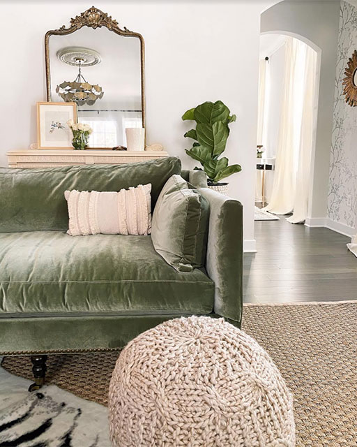 14+ Beautiful Sage Green Velvet Sofa Options - IMAGE via Brexton Cole Interiors