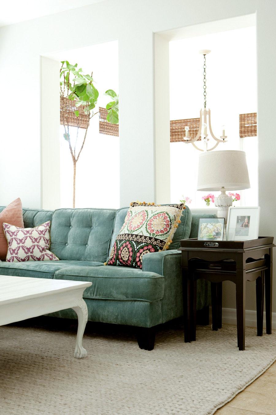 14+ Beautiful Sage Green Velvet Sofa Options - IMAGE via Style Me Pretty, Design: Nicole Davis, Photography: Ashlee Raubach