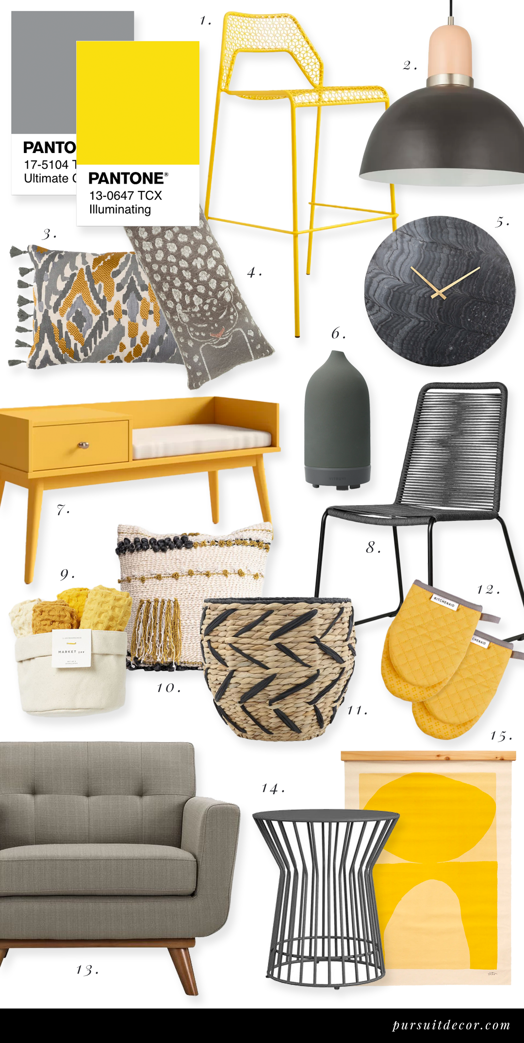 Decorating with Pantone Color of the Year 2021 - 'Illuminating' and 'Ultimate Gray', yellow and gray home decor, yellow and gray color combination #pantone #2021 #coloroftheyear