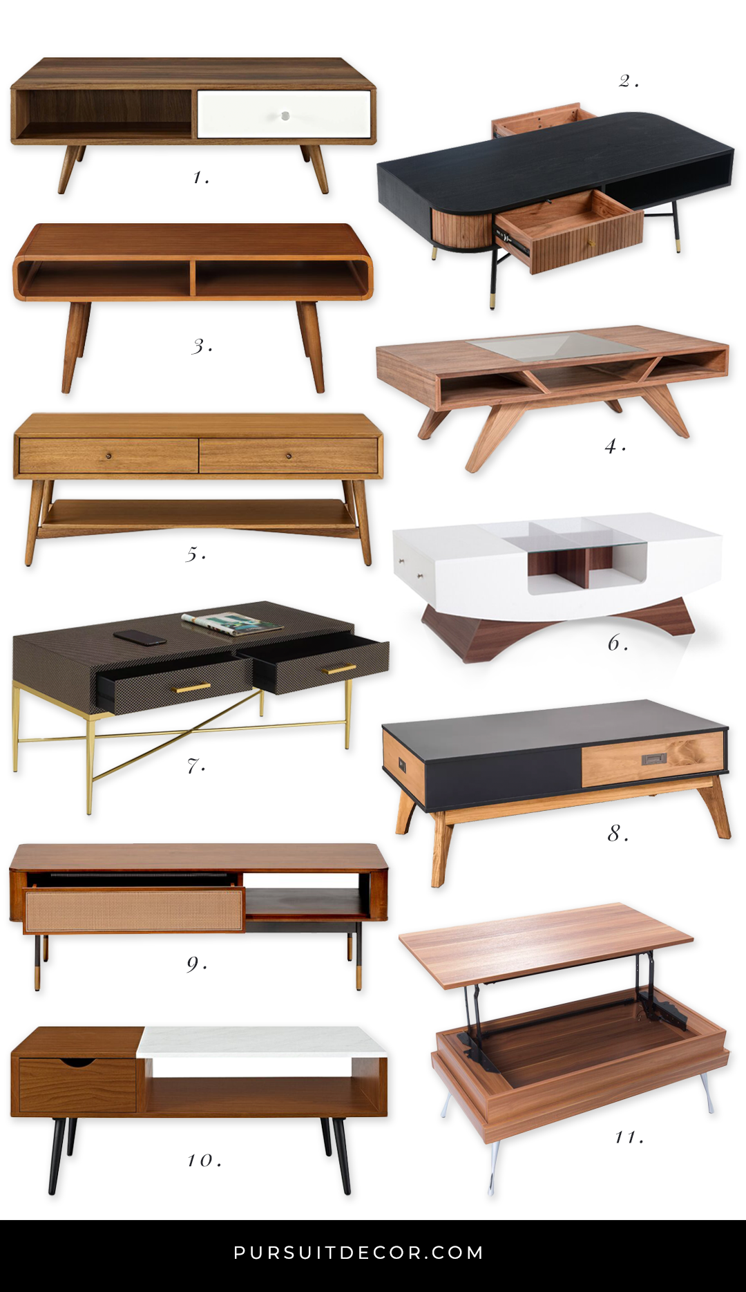 10+ Stylish Mid-Century Modern Coffee Tables with Storage - Pursuit Decor. Mid-Century Coffee Table with drawers, MCM Style, Mid-Century Modern living room furniture. #MCMdecor