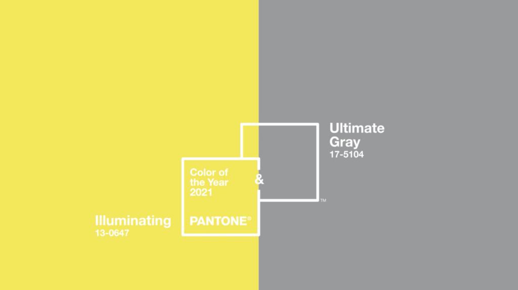 Pantone's 'Illuminating' and 'Ultimate Gray' - image via Pantone