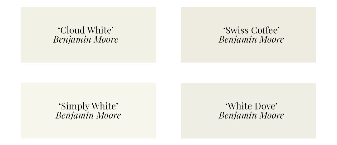 Best Warm White Paint Colors - Benjamin Moore - 'Cloud White', 'Swiss Coffee', Simply White', 'White Dove'
