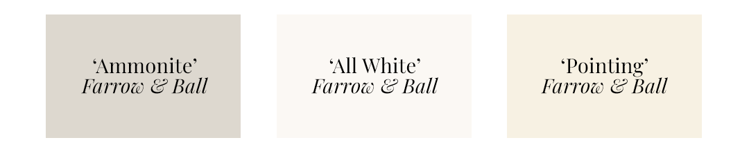 Best Warm White Paint Colors - Farrow & Ball - 'Ammonite', 'All White', 'Pointing'