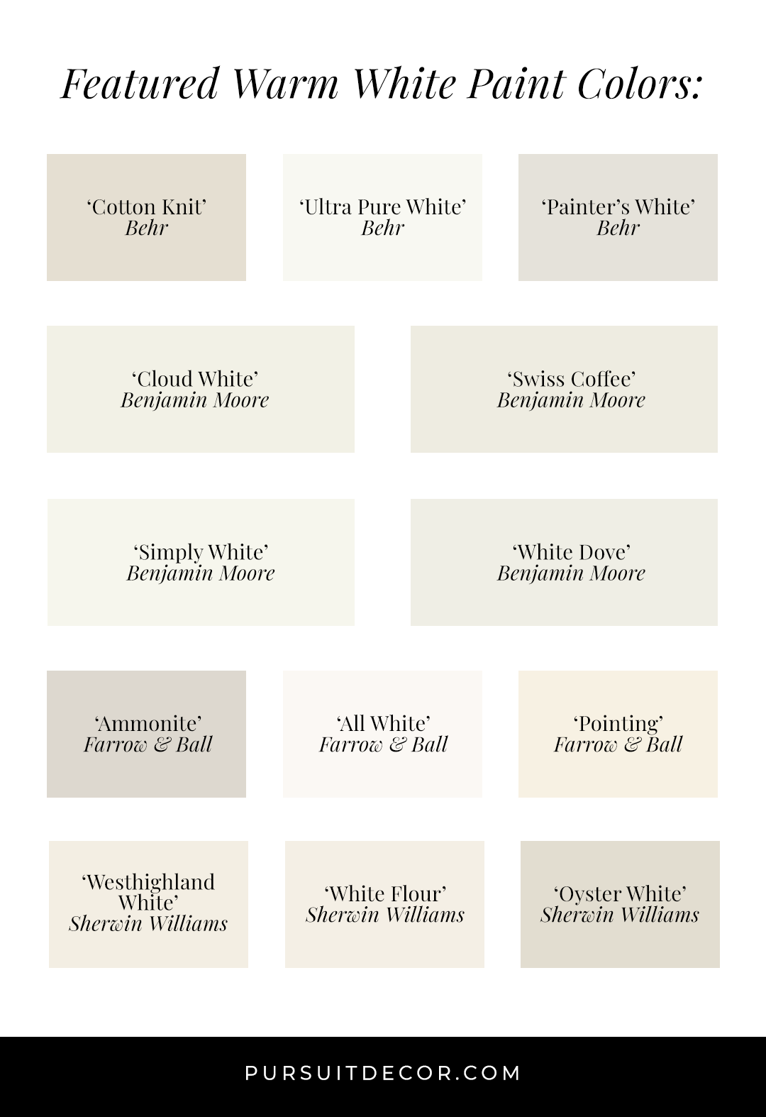 10+ Best Warm White Paint Colors in Action (by Brand) - Behr, Benjamin Moore, Farrow & Ball, Sherwin Williams