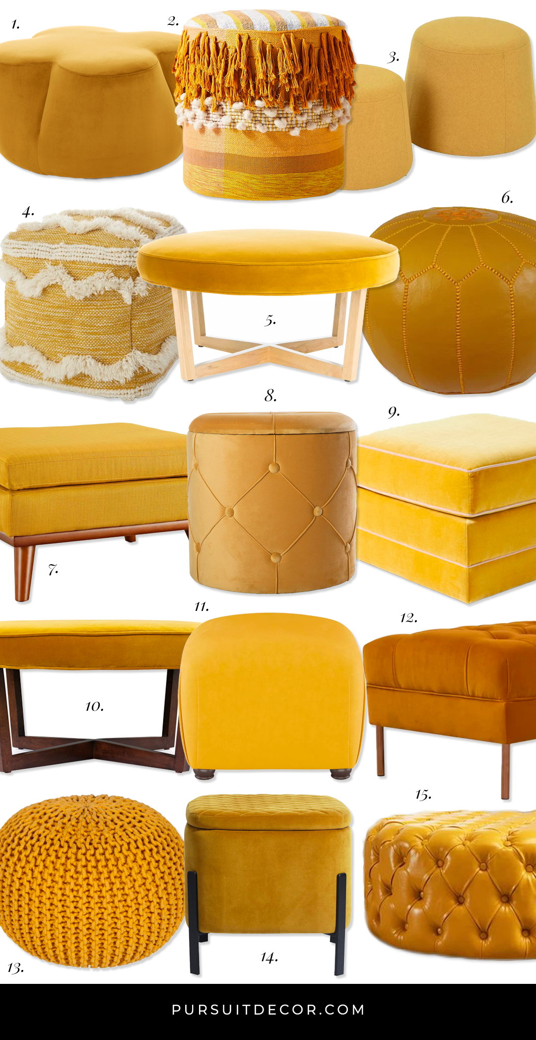15 Stylish Mustard Yellow Ottomans and Poufs