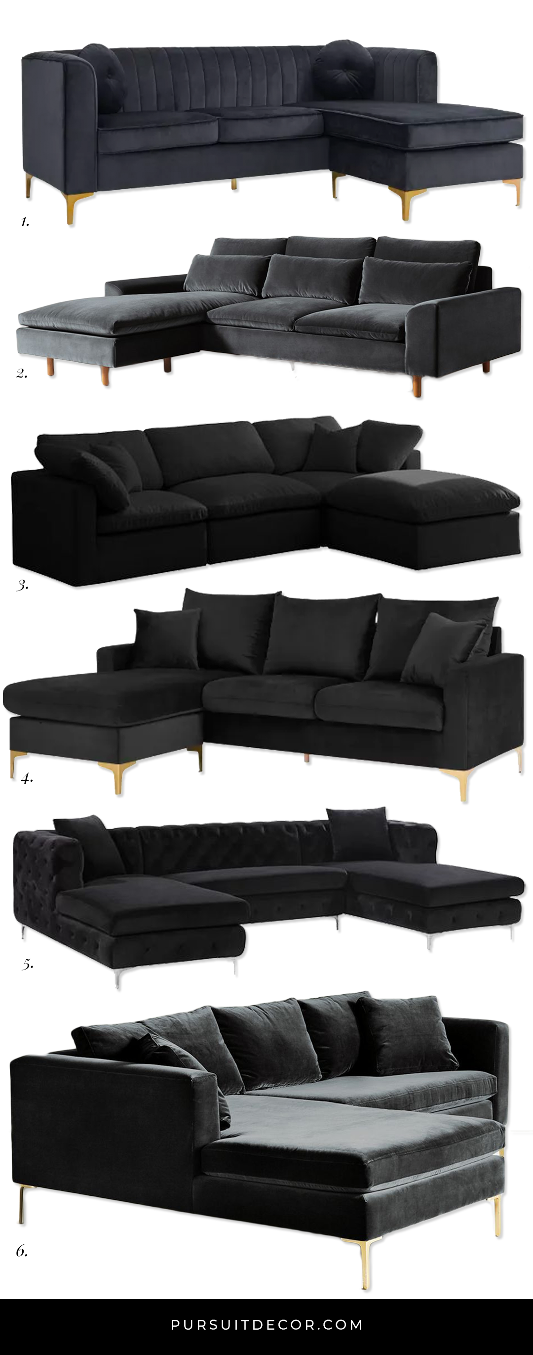 6 Luxurious Black Sectional Sofas You'll Love - Pursuit Decor. Affordable black velvet sofas via Wayfair, Target and Anthropologie.