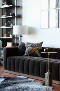 Luxe black velvet sofa, IMAGE: via Stocki Design