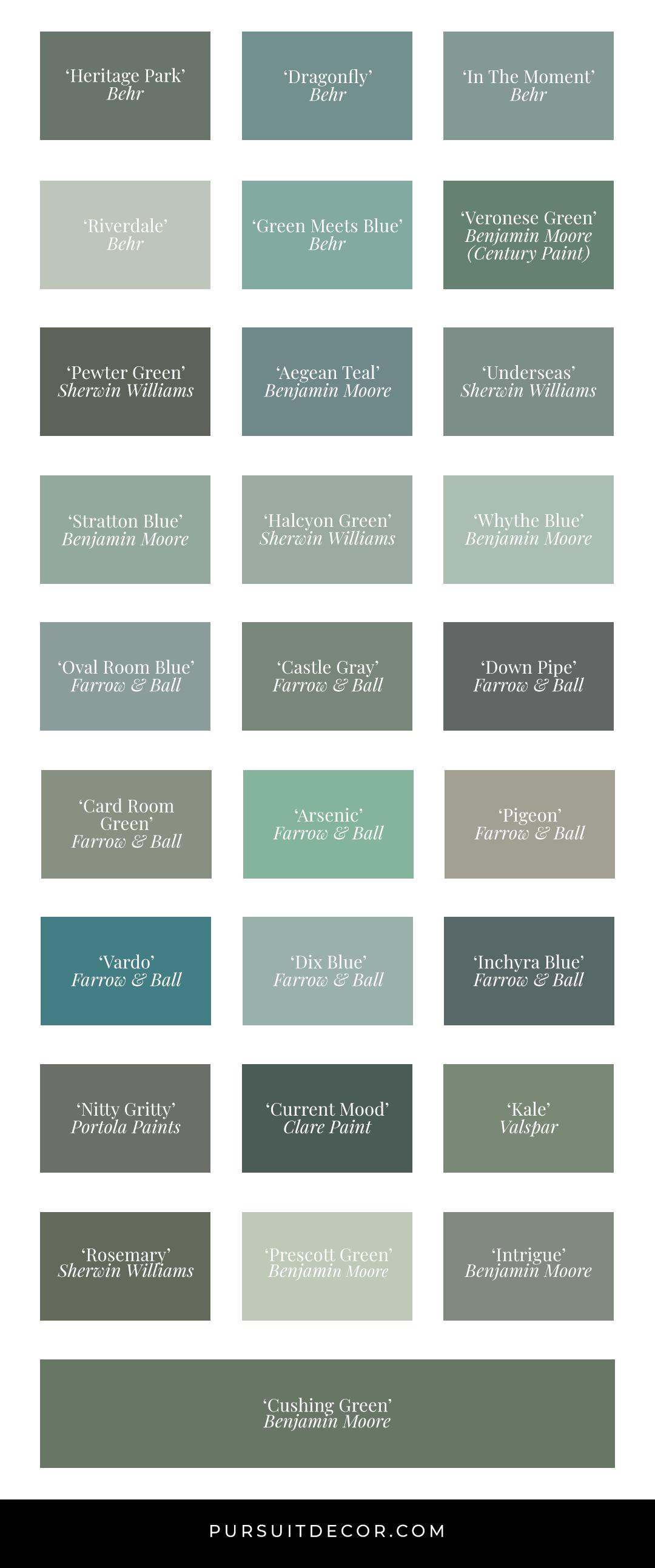 Best Blue Green Paint Colors in Action (by Brand) - Pursuit Decor. Feat. Behr, Benjamin Moore, Sherwin Williams, Valspar, Clare Paint, Farrow & Ball, Portola Paints.