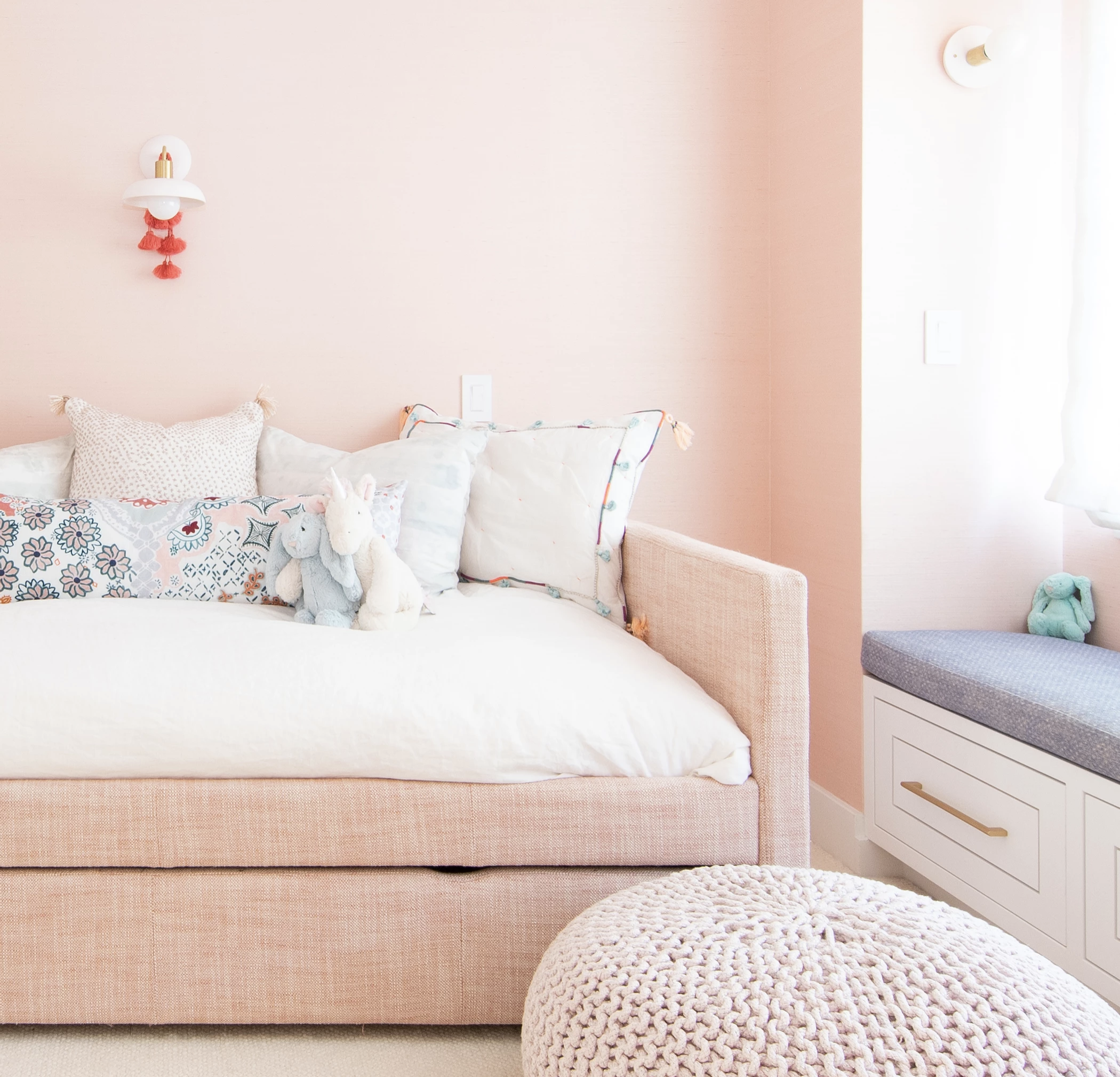 10 Pretty Pink Daybed with Trundle Options - pink daybed inspiration, Image via G Family Inc.
