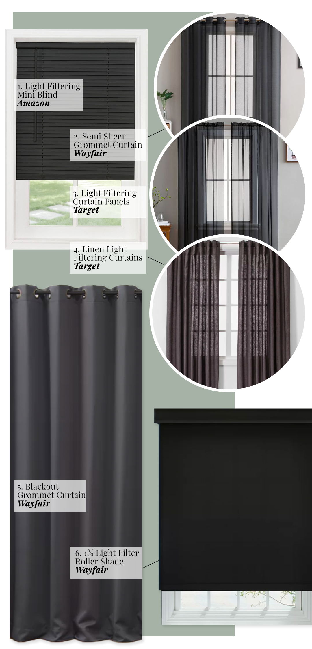 What Color Curtains Go With Sage Green Walls? Dark Gray, Charcoal and Black.