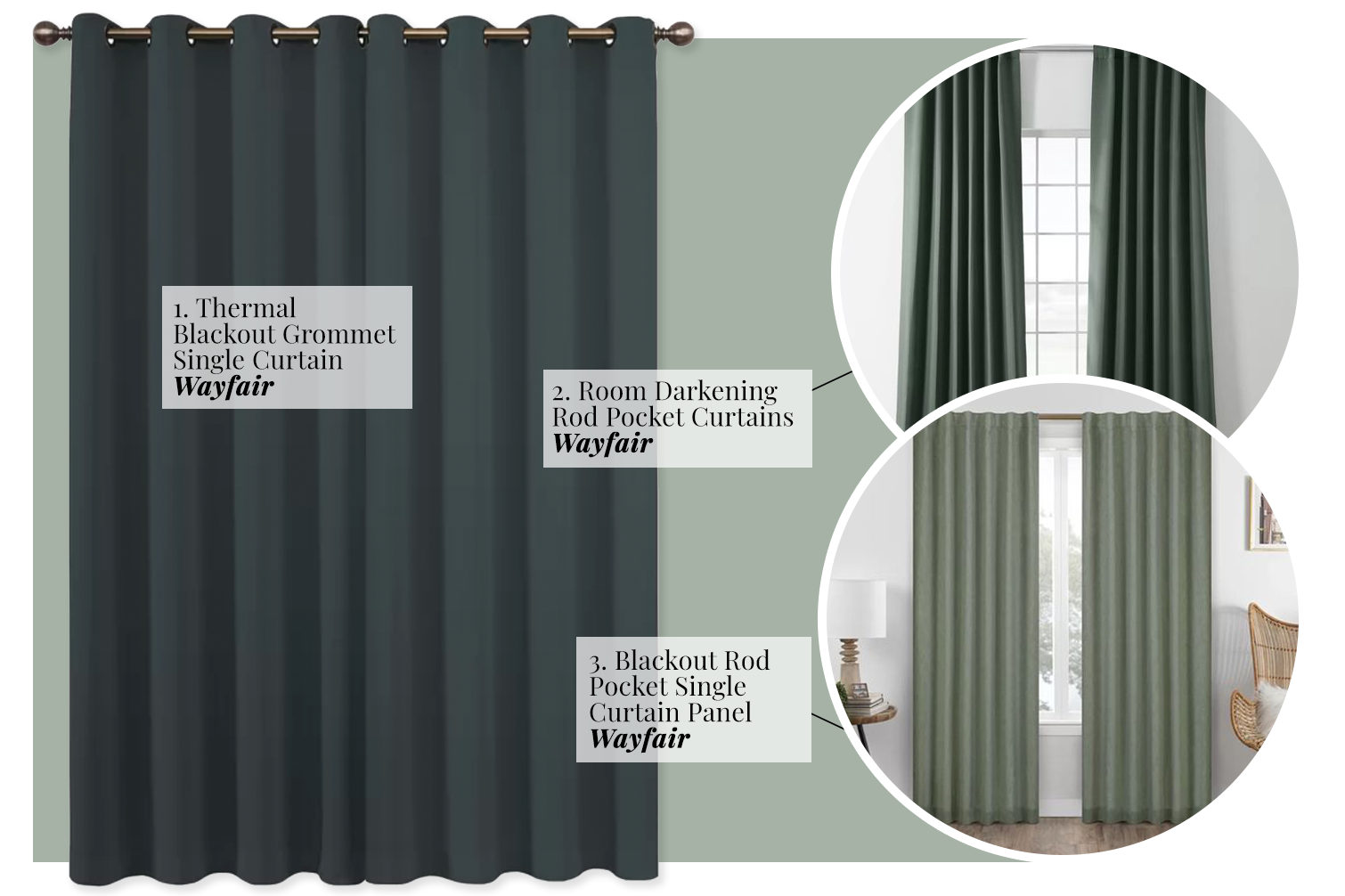 What Color Curtains Go With Sage Green Walls? Dark Hunter Green, Forest Green, Emerald and Teal.