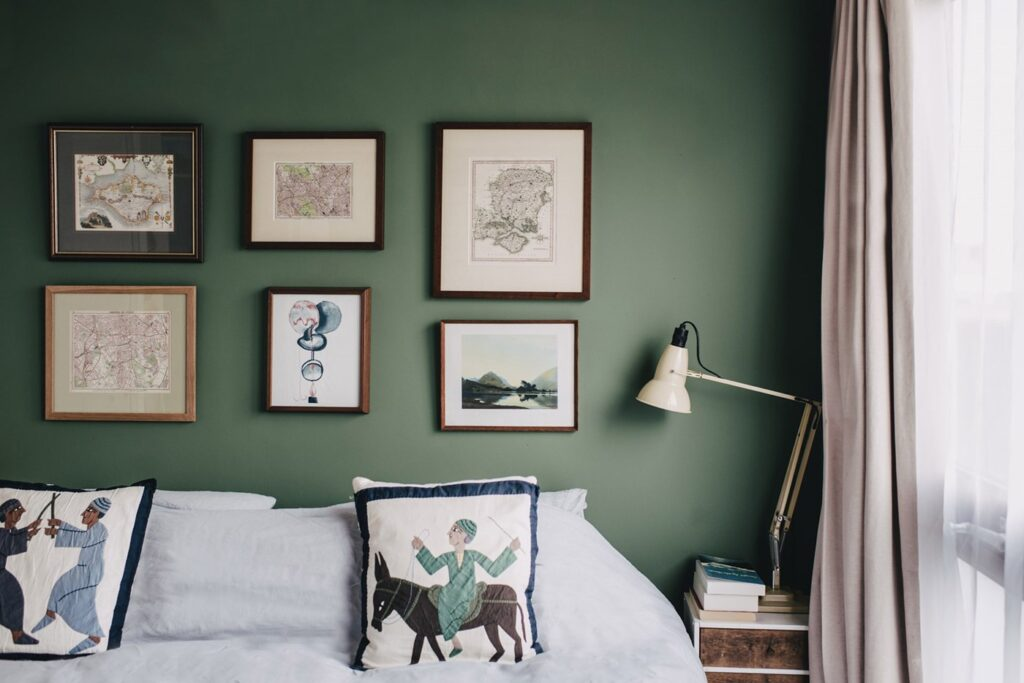 Image via Farrow and Ball, feat. paint color 'Calke Green – No. 34'.