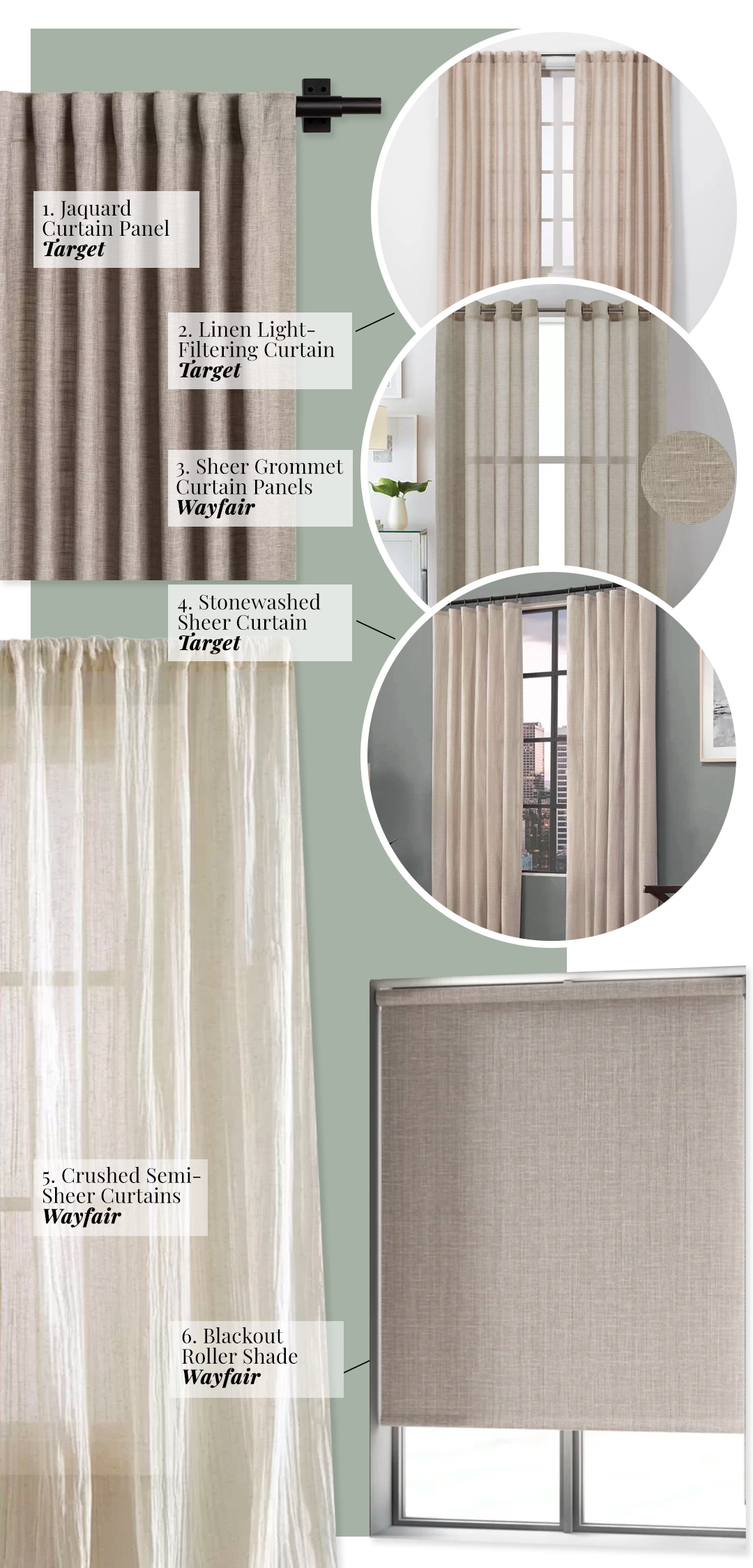 What Color Curtains Go With Sage Green Walls? Linen, Natural, Oatmeal and Beige tones add texture and warmth.