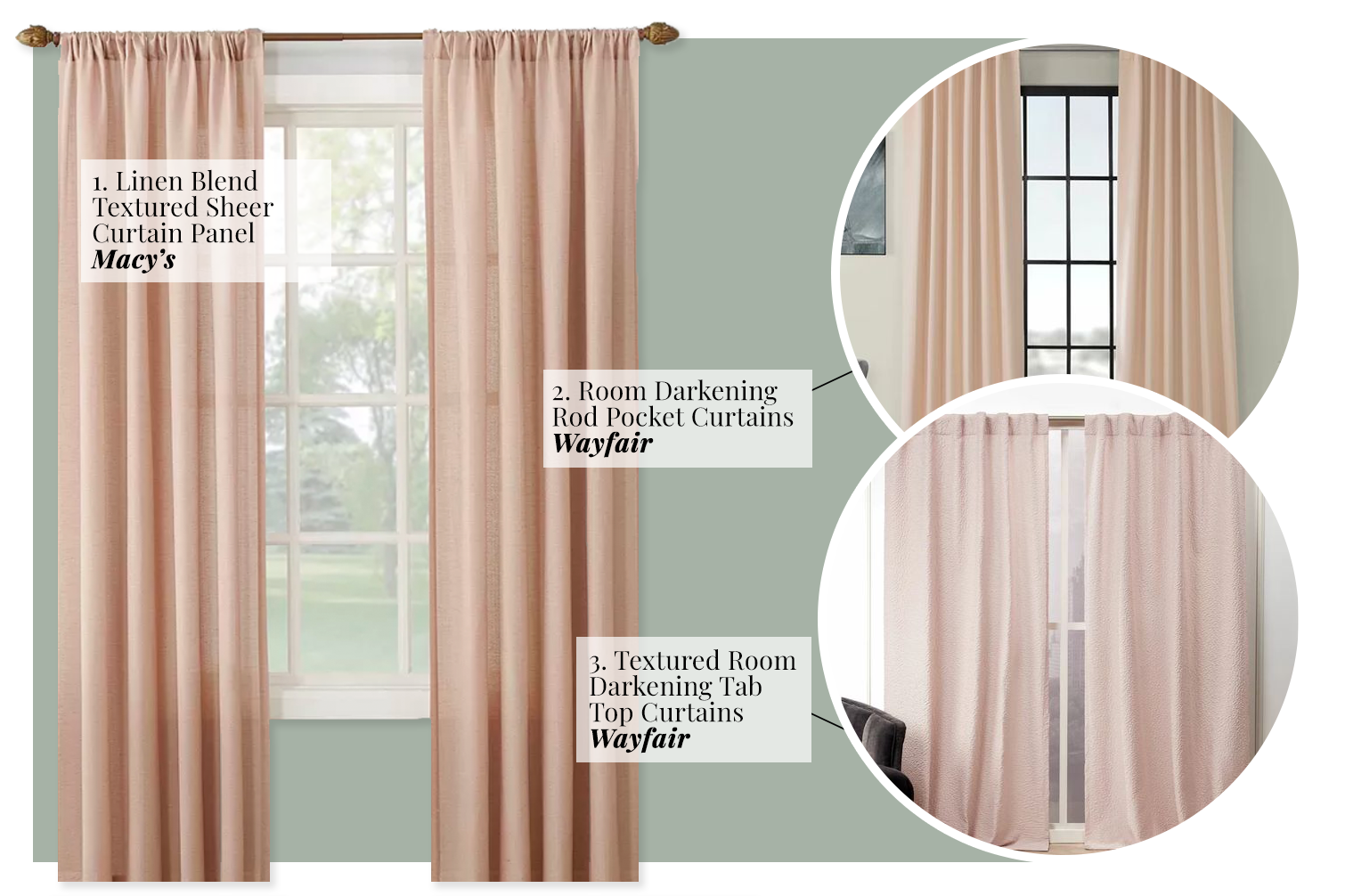 What Color Curtains Go With Sage Green Walls? - Soft pastel pink, peach, blush tones.