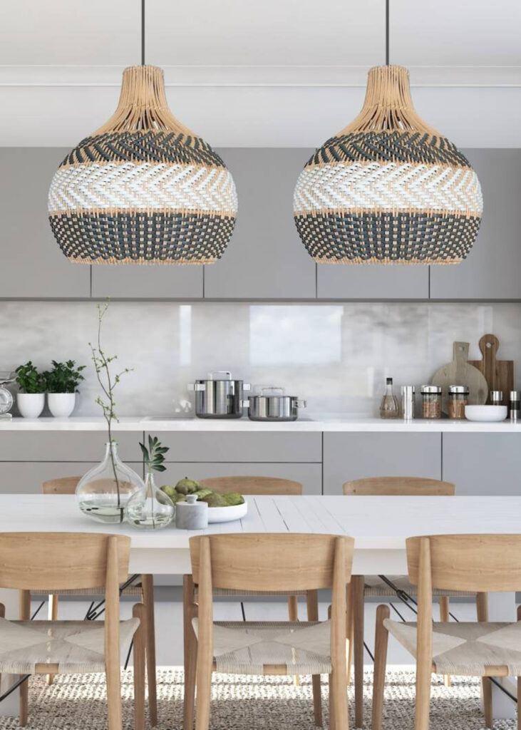 Image via My Bali Living (Etsy) feat. 'Serena' Grey Rattan Pendant (24-inch w) - 15+ Stylish Oversized and Extra Large Rattan Pendant Light Options