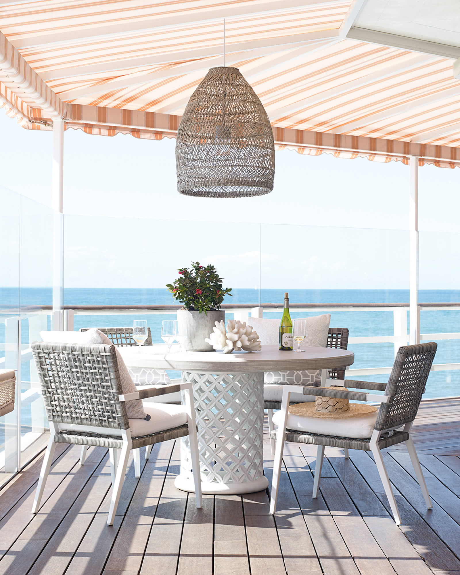 Image via Serena & Lily feat. 'Summerland' Outdoor Bell Pendant in Harbor Grey (Large - 21-inch w) - 15+ Stylish Oversized and Extra Large Rattan Pendant Light Options