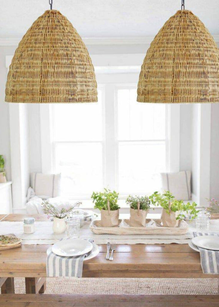 Image via My Bali Living (Etsy) feat. 'Casa Cook' Rattan Pendant Light (24-inch w)