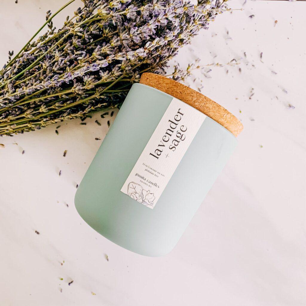 Lavender and Sage Wood Wick Candle via Gunita Candles (Etsy)