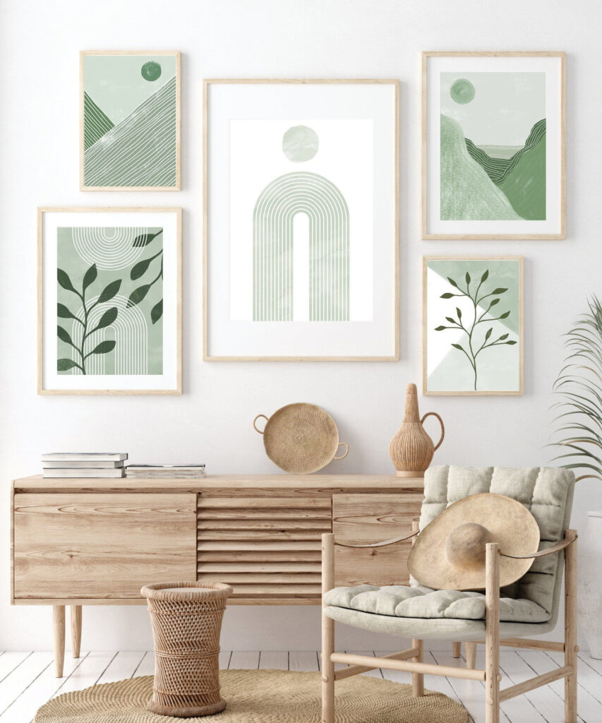 ROUND-UP: Sage Green Bedroom Accessories and Décor - ft. Sage Green Printable Wall Art (Set of 5) via Zega Studio (Etsy)