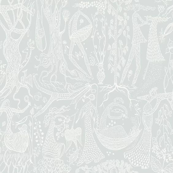 Biggs Poem D'amour Slate Folk Wallpaper in Sage via Wayfair