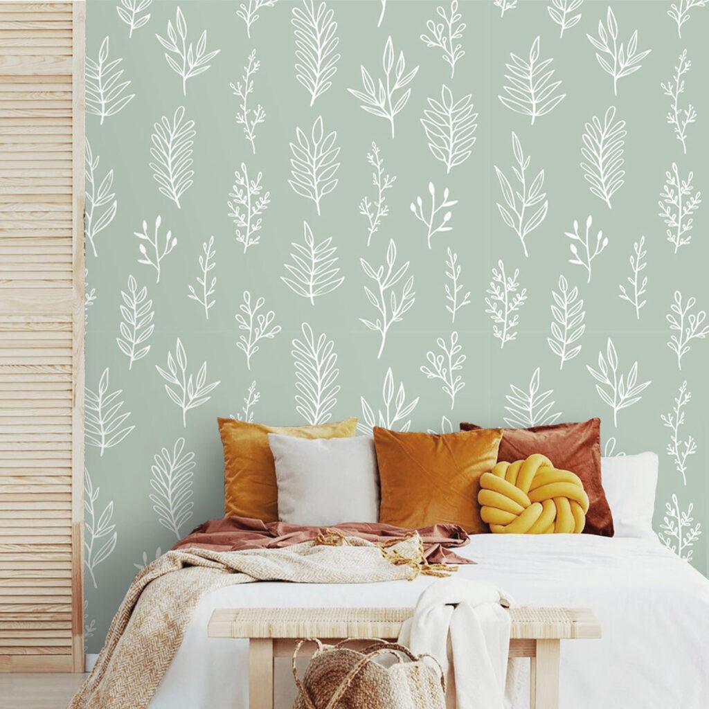 Sage Green Wallpaper via Deco Wall Co (Etsy)