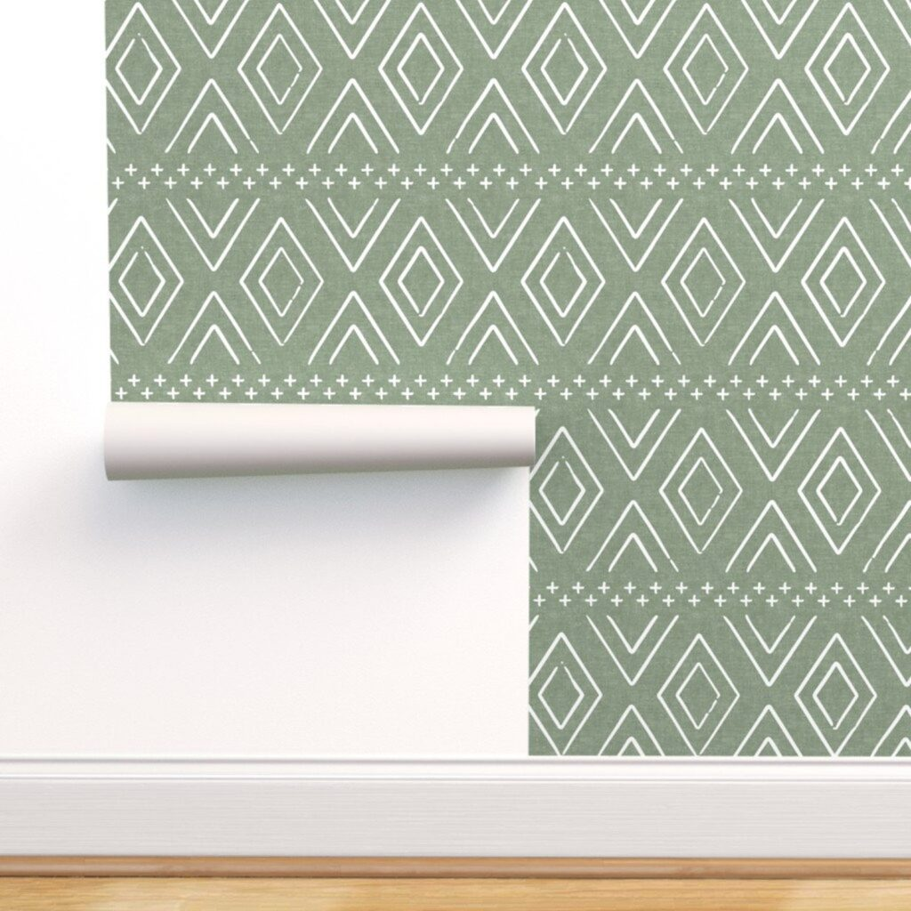 Safari Diamonds Sage Wallpaper via Spoonflower (Etsy)