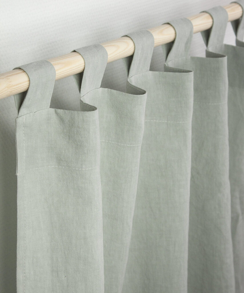 Sage Green Linen Tab Top Curtain via Amour Linen (Etsy)