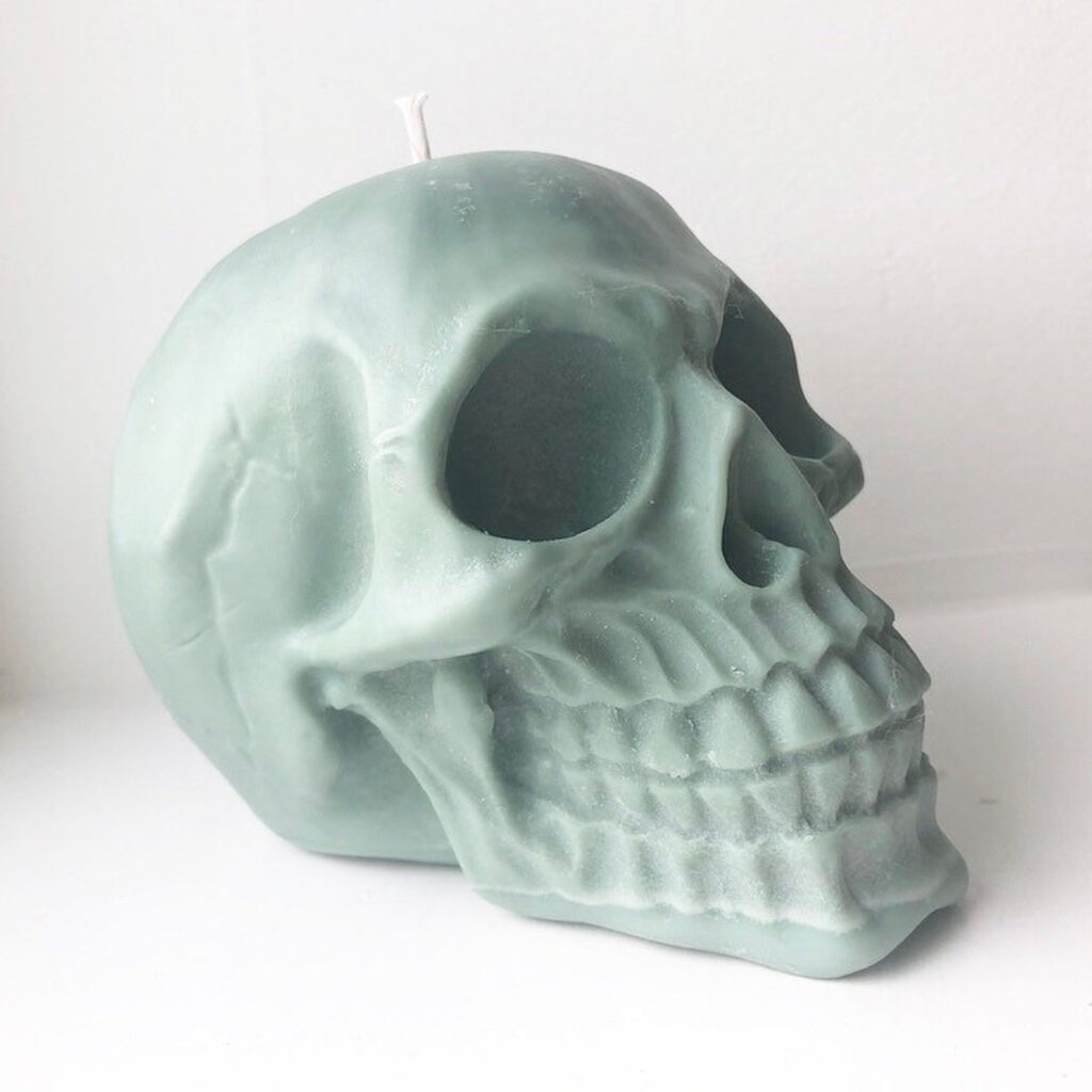 Sage Green Skull Candle via Ember Candle Co (Etsy)