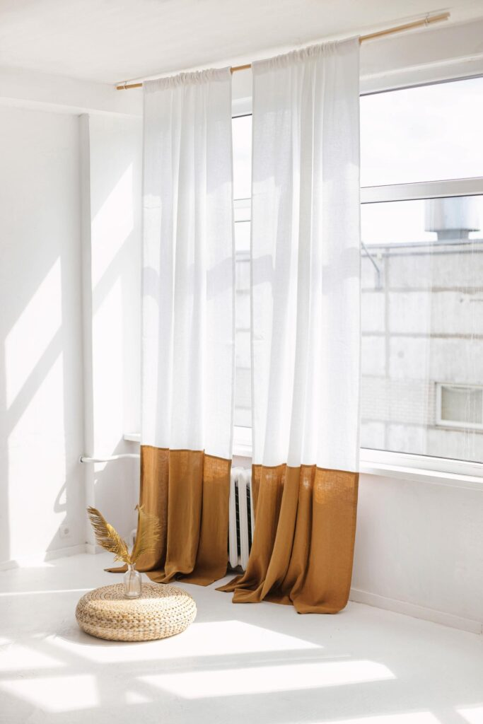 Mustard COlor Blocked Curtains via Etsy