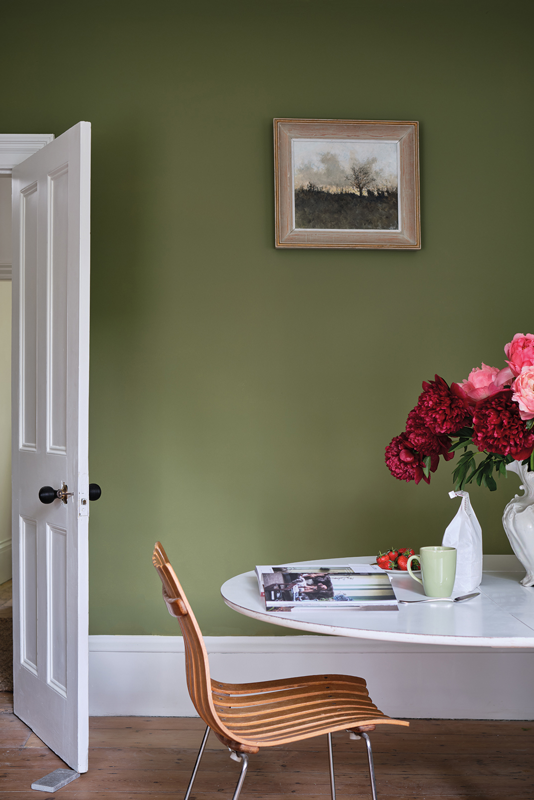 Best Olive Green Paint Colors in Action - Image via Farrow and Ball, feat. 'Sap Green' by Farrow and Ball