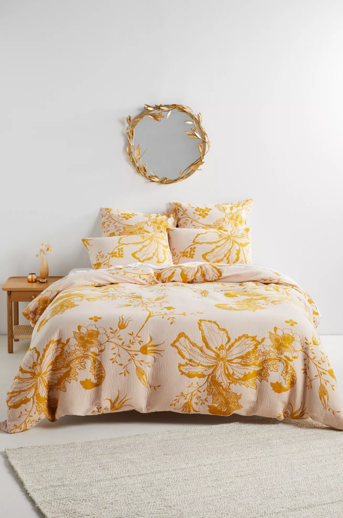 Mustard Embroidered Duvet via Anthropologie