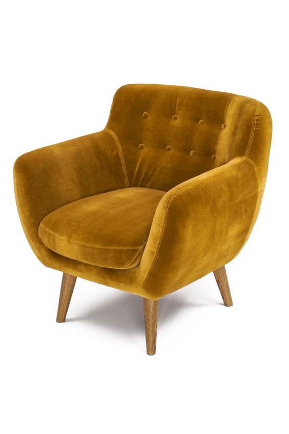Velvet Mustard Accent Chair via Wayfair