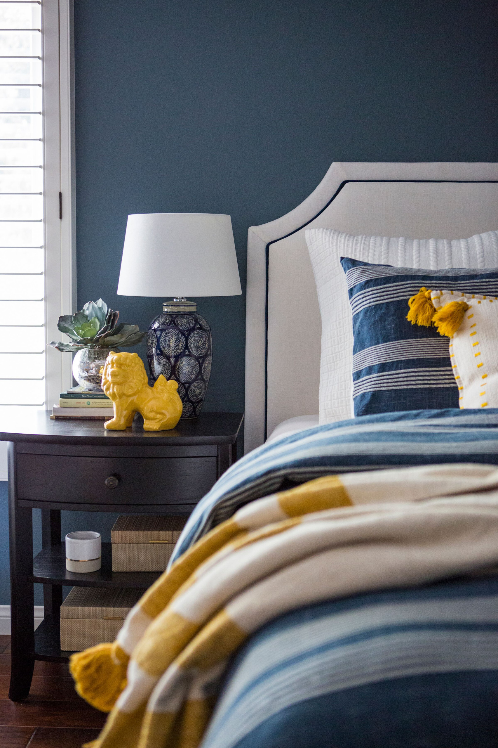 Best Navy and Mustard Bedroom Ideas - Image via Jennifer Grey Interiors