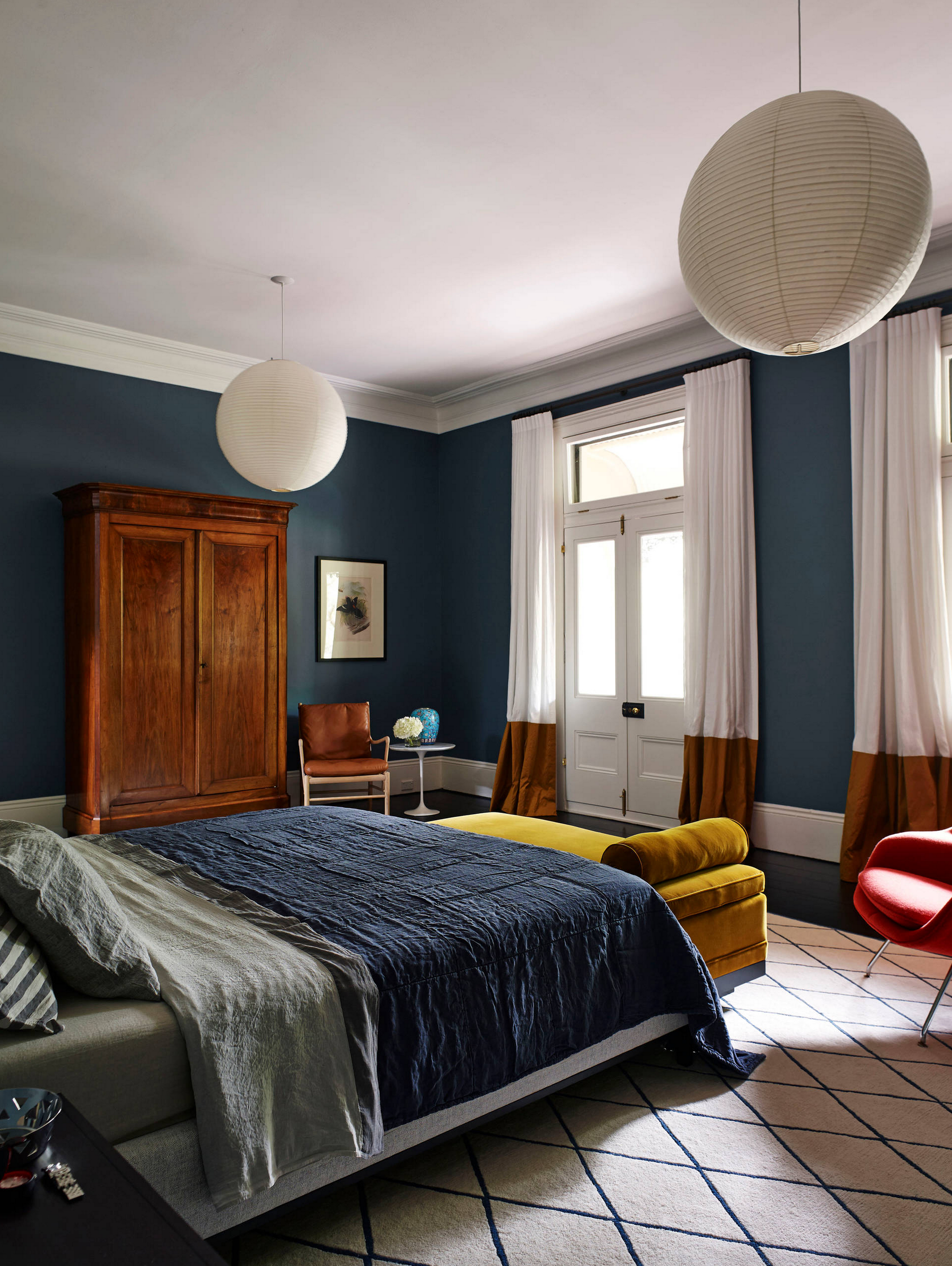 Best Navy and Mustard Bedroom Ideas - Image via Houzz, Photo by Anson Smart, Design by Arent & Pyke