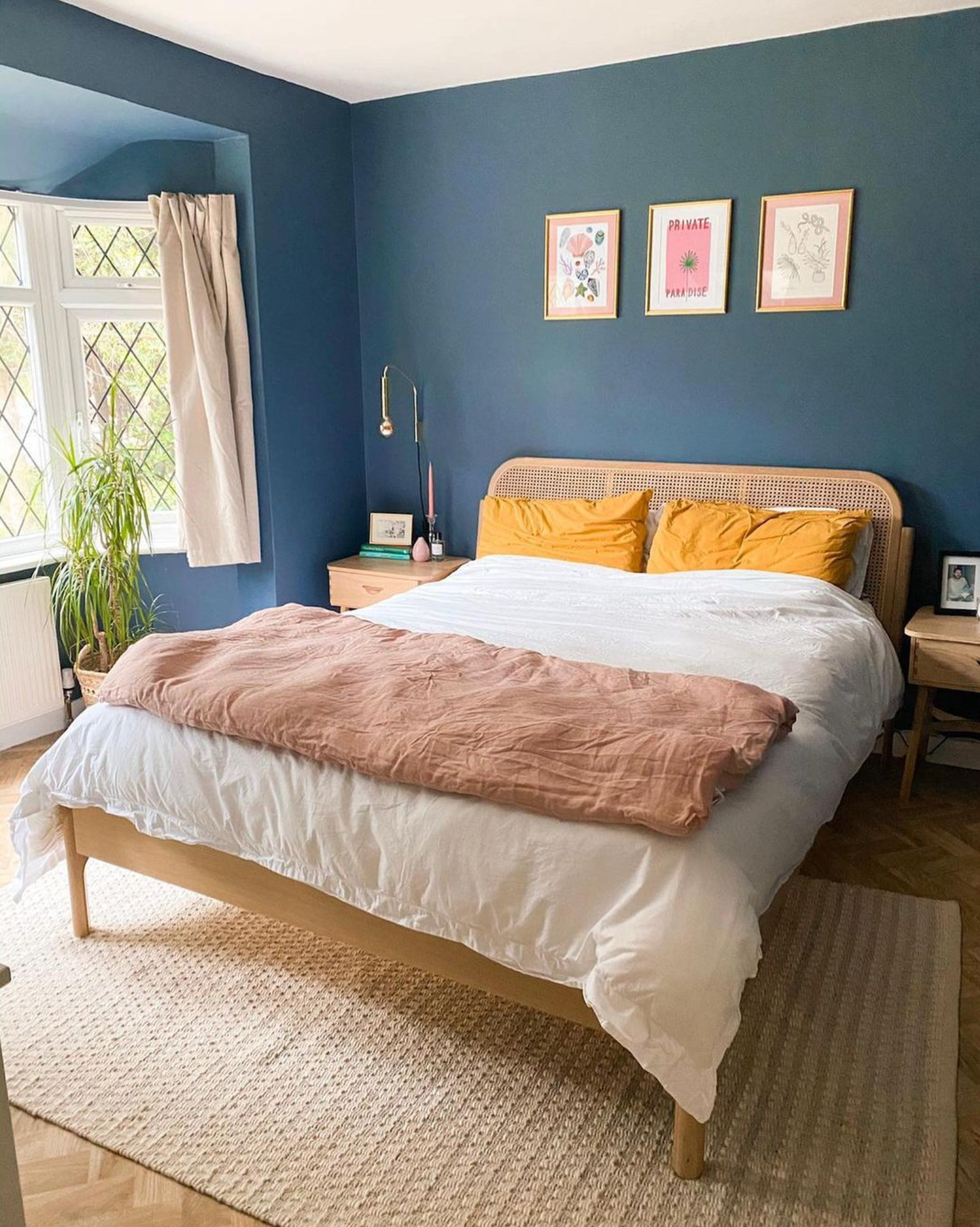 Image via Instagram @theleoparduk, wall color by Farrow & Ball in 'Hague Blue'