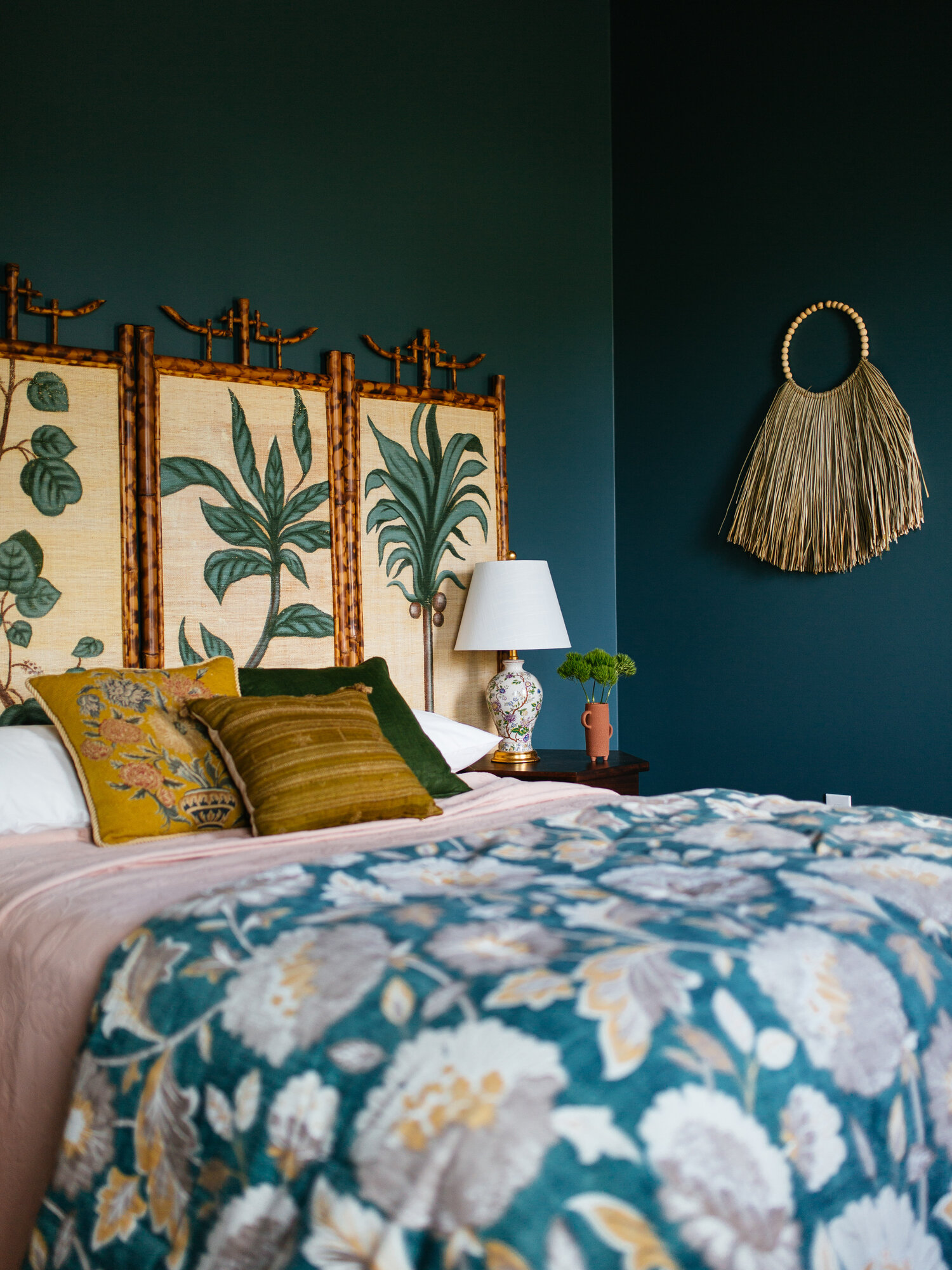 Best Navy and Mustard Bedroom Ideas - Image via Old Brand New, wall color by Behr in 'Juniper Berries'.